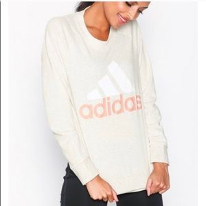 Adidas cream and pink pull over